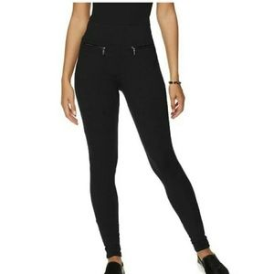 Pants - SAMANTHA BROWN zipper front black leggings